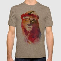 Gym Lion Mens Fitted Tee Tri-Coffee SMALL