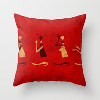 Forms of Prayer - Red Throw Pillow