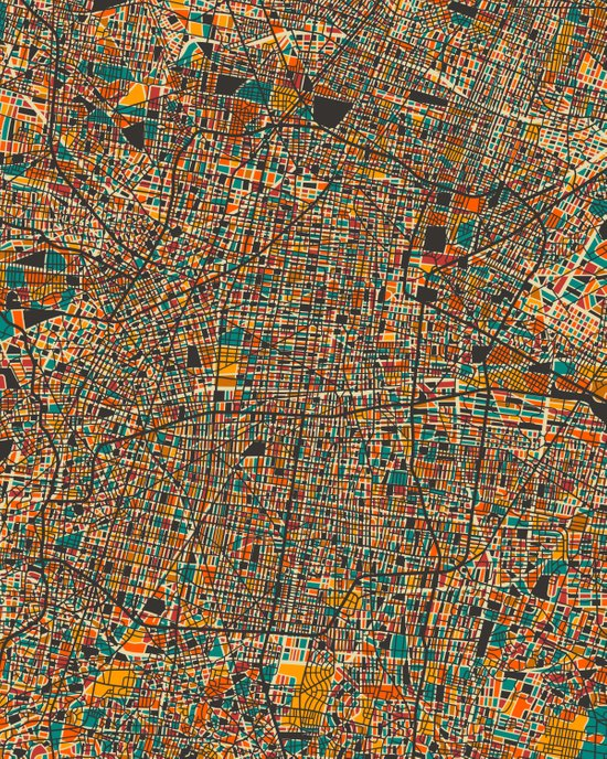 Mexico City (abstract map) Art Print