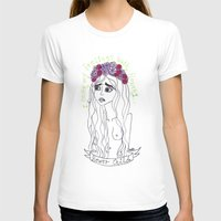 flowers in my head Womens Fitted Tee White SMALL