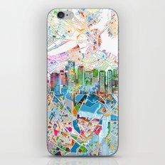 boston city skyline map iPhone & iPod Skin