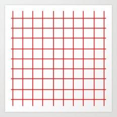 Grid (Red/White) Art Print
