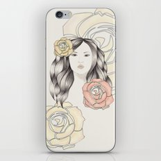 Whimsical Face with Pastel Roses iPhone & iPod Skin