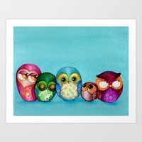 Fabric Owl Family Art Print