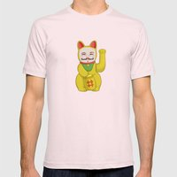 Occupy Lucky Cat Mens Fitted Tee Light Pink SMALL
