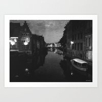 late night in Ghent  Art Print