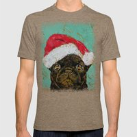 Santa Pug Mens Fitted Tee Tri-Coffee SMALL