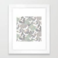 Doves And Flowers Framed Art Print