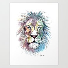 Technicolor Cat Art Print