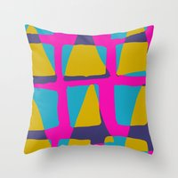 80s triangles and checks Throw Pillow