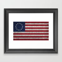 The Betsy Ross flag of the USA - Vintage Grungy version Framed Art Print