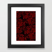 Chrysanthemums Red On Bl… Framed Art Print