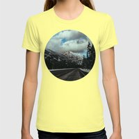 Driving in the North Cascades Womens Fitted Tee Lemon SMALL