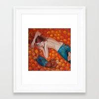 Lines of Me. Scarfy & Oranges.  Framed Art Print