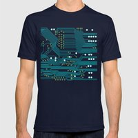 Dark Circuit Board Mens Fitted Tee Navy SMALL