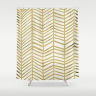 Shower Curtain featuring Gold Herringbone by Cat Coquillette