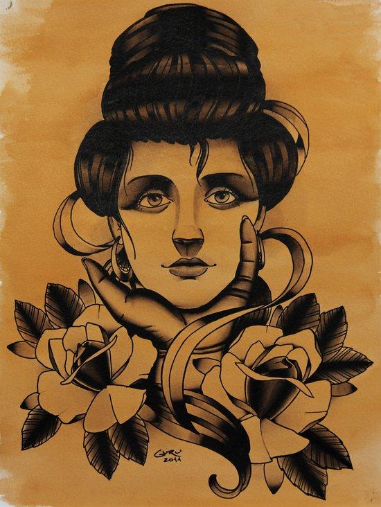 WOMAN and Roses - TATTOO Art Print