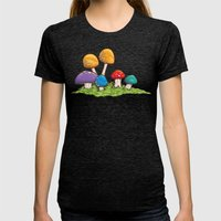 Mushrooms (Colors) Womens Fitted Tee Tri-Black SMALL
