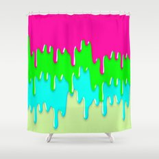 Funny Melting Icecream Neon Pink Green Teal Shower Curtain