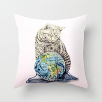 In Which Our Feline Deit… Throw Pillow
