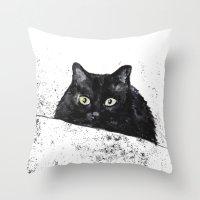 black cat yellow eyes Throw Pillow