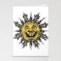 sun face - original yellow Stationery Cards