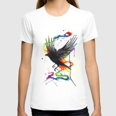 Watercolor Crow  Womens Fitted Tee White SMALL