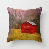 West Virginia Red Barn Throw Pillow