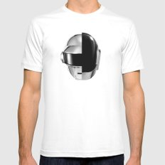 Daft Punk White SMALL Mens Fitted Tee