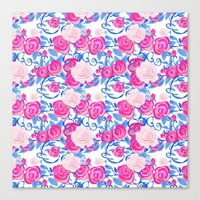 Pink Shabby Chic roses and royal blue vines on white Canvas Print