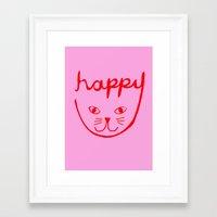 Happy Cat Framed Art Print
