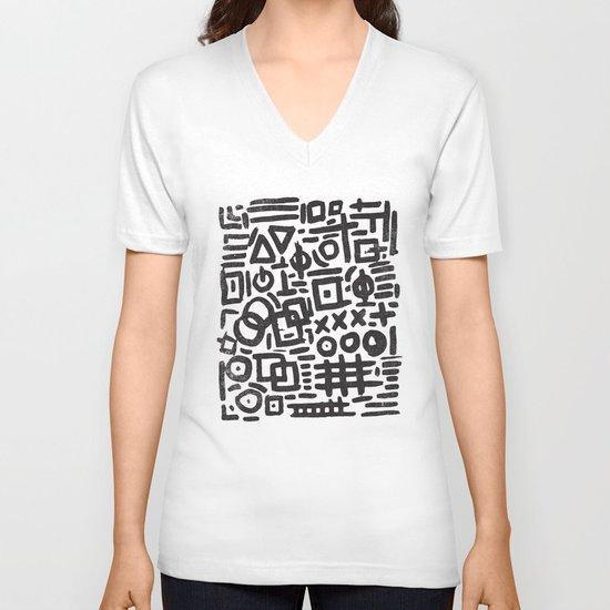 ABSTRACT 4 - BLACK & WHITE V-neck T-shirt