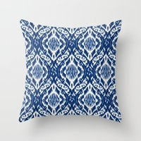 Damask Ikat: Navy and Off Ivory/White Throw Pillow