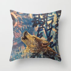 THE WOLF HOWLED AT THE STAR FILLED NIGHT Throw Pillow