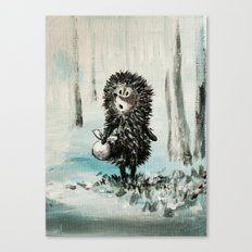 Hedgehog in the fog Canvas Print