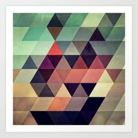 geometric Art Prints featuring tryypyzoyd by Spires