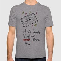 Cassette Mens Fitted Tee Athletic Grey SMALL
