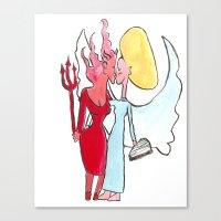 Angel/devil Lesbian Kiss Canvas Print