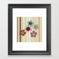 Embroidered Flower Illus… Framed Art Print