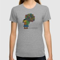 Flowers Womens Fitted Tee Athletic Grey SMALL