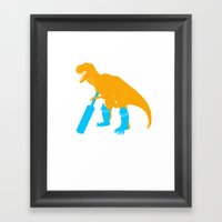 TRex Playing Cricket Spo… Framed Art Print