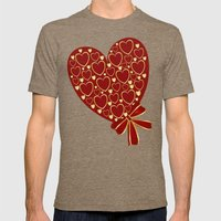 Gold hearts on rich red Mens Fitted Tee Tri-Coffee SMALL