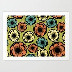 Bold Retro Flower Art Print