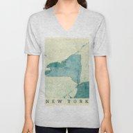 New York Map Blue Vintag… Unisex V-Neck