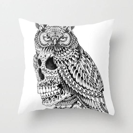 Great Horned Skull Throw Pillow