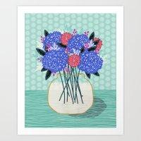 Hydrangeas Vase of cut flowers gardening gardener nature spring summer floral bloom Andrea Lauren  Art Print