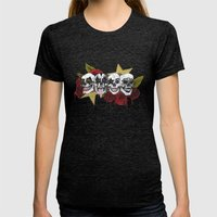 Rock 'n' roll all night Womens Fitted Tee Tri-Black SMALL