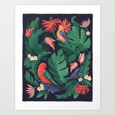 Midnight Bird Jungle Art Print
