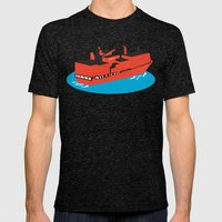 container cargo ship retro Mens Fitted Tee Tri-Black SMALL