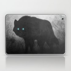 Black and White Wolf Moon Silhouette  Laptop & iPad Skin